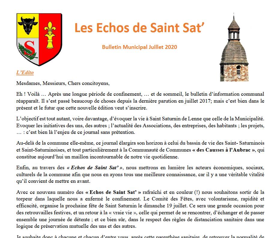 Bulletin Municipal Juillet 2020 Saint Saturnin de Lenne