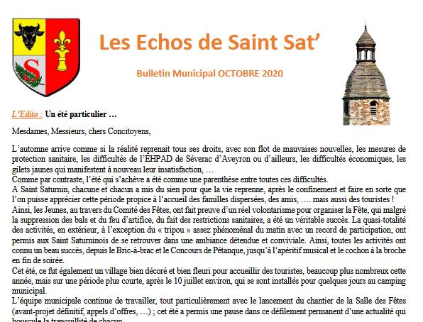 Bulletin Municipal octobre 2020 Saint Saturnin de Lenne